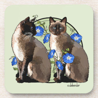 Siamese Cats with Morning Glories Coaster