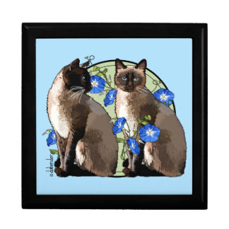 Siamese Cats with Morning Glories Gift Box
