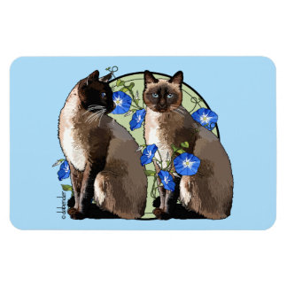 Siamese Cats with Morning Glories Magnet