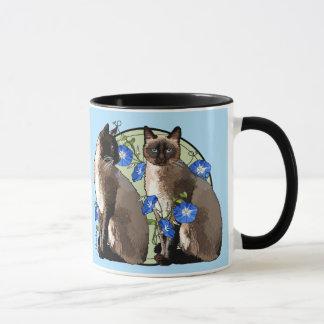 Siamese Cats with Morning Glories Mug