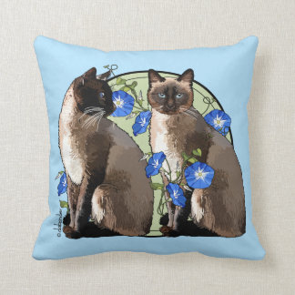 Siamese Cats with Morning Glories Throw Pillow