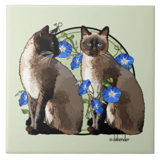 Siamese Cats with Morning Glories Tile