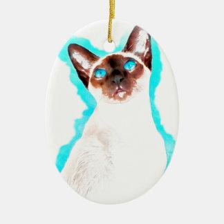 Siamese CatWatercolor Art Ceramic Ornament