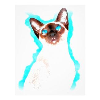 Siamese CatWatercolor Art Letterhead Template