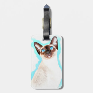 Siamese CatWatercolor Art Luggage Tag