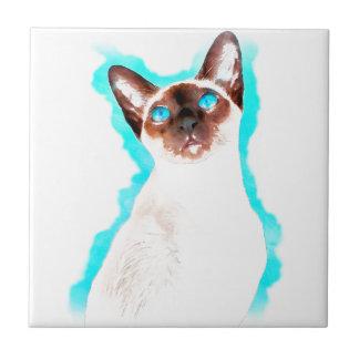 Siamese CatWatercolor Art Tile