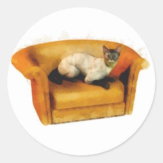 Siamese Couch Cat Round Sticker