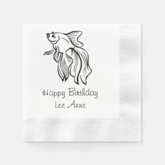Siamese Fighting Fish Birthday Disposable Napkin