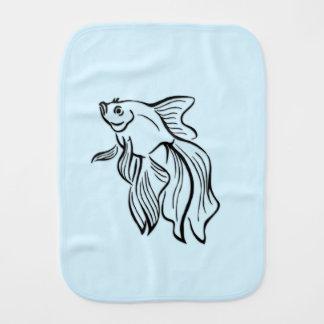 Siamese Fighting Fish Blue Burp Cloth