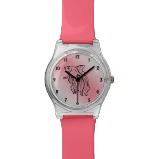 Siamese Fighting Fish Coral Wristwatch