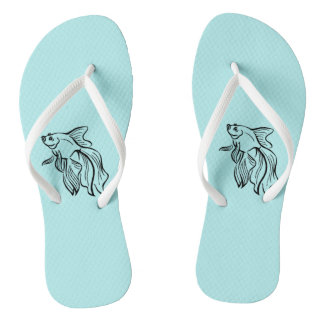 Siamese Fighting Fish Mint Green Flip Flops