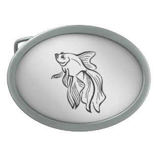 Siamese Fighting Fish Oval Belt Buckle