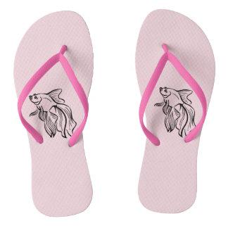 Siamese Fighting Fish Pink Flip Flops