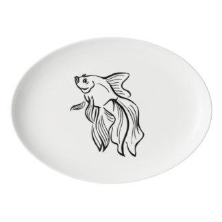 Siamese Fighting Fish Porcelain Serving Platter