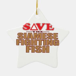 Siamese Fighting Fish Save Ceramic Star Ornament
