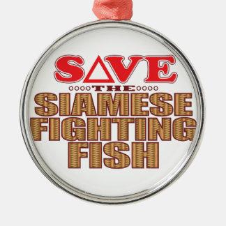 Siamese Fighting Fish Save Silver-Colored Round Ornament