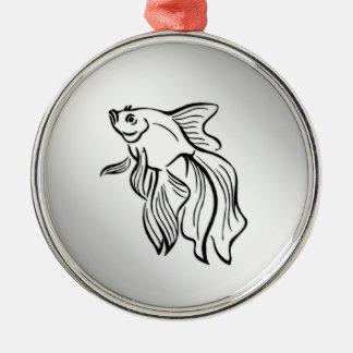 Siamese Fighting Fish Silver-Colored Round Ornament