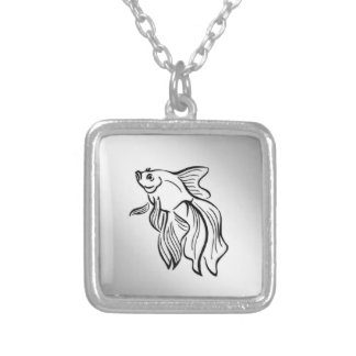 Siamese Fighting Fish Silver Plated Necklace