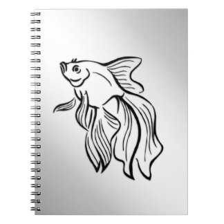 Siamese Fighting Fish Spiral Note Books