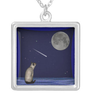 Siamese In Window Wishing Silver Plated Necklace