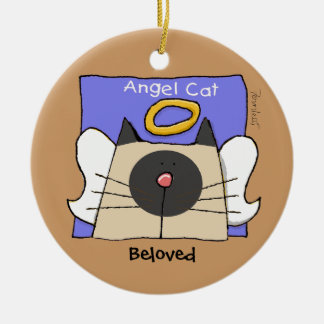 Siamese Keepsake Cat Angel Personalize Round Ceramic Ornament