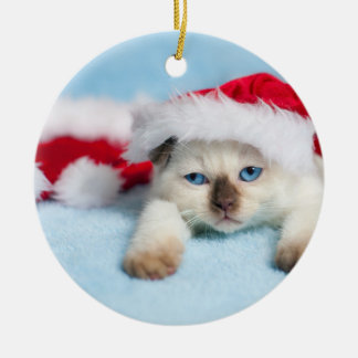 Siamese Kitten: Christmas Kitty Ceramic Ornament