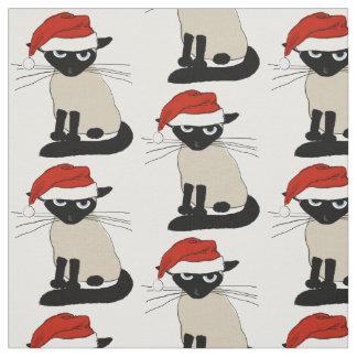 Siamese Santa Cat Fabric