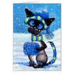 Siamese Snow Greeting Card
