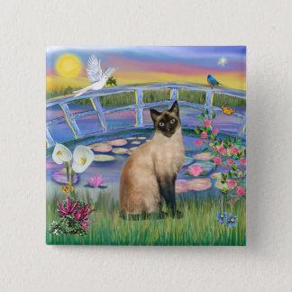 Siamese  - Sunrise Lilies 2 Inch Square Button