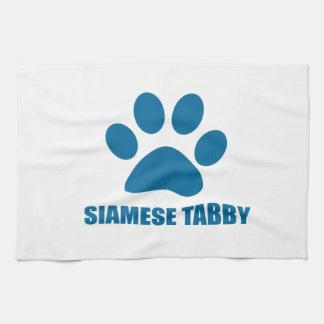 SIAMESE TABBY CAT DESIGNS KITCHEN TOWEL