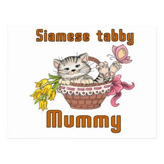 Siamese tabby Cat Mom Postcard