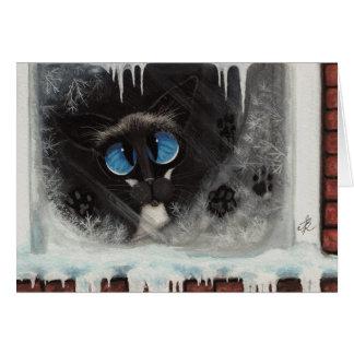 Siamese Winter Snow Cat by BiHrLe Card