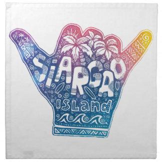 Siargao island surfing shaka hand napkin