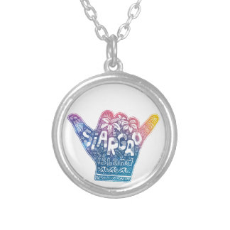 Siargao island surfing shaka hand silver plated necklace