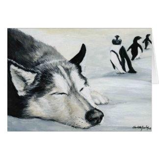 """Siberian Huskey's Penquin Dream"" Dog Art Greeting Card"
