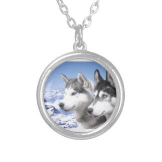 Siberian Huskies Round Pendant Necklace