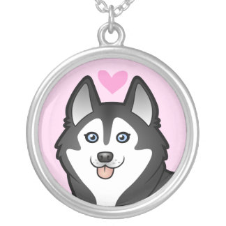 Siberian Husky / Alaskan Malamute Love Silver Plated Necklace