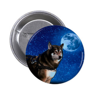 Siberian husky and the Blue Moon 2 Inch Round Button