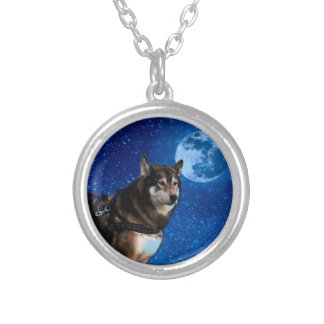 Siberian husky and the Blue Moon Round Pendant Necklace