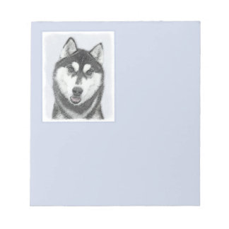 Siberian Husky (Black and White) Notepad