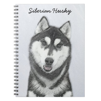 Siberian Husky (Black and White) Painting Dog Art Notebook