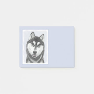 Siberian Husky (Black and White) Painting Dog Art Post-it Notes