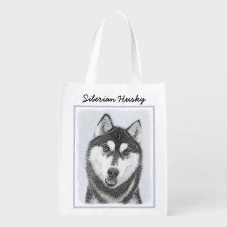 Siberian Husky (Black and White) Painting Dog Art Reusable Grocery Bag