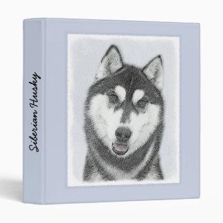 Siberian Husky (Black and White) Painting Dog Art Vinyl Binder