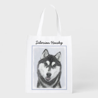Siberian Husky (Black and White) Reusable Grocery Bag