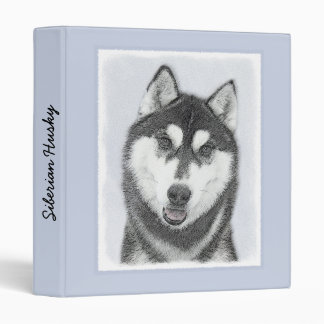 Siberian Husky (Black and White) Vinyl Binder