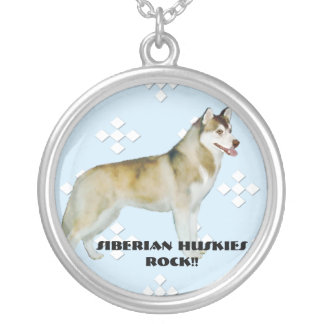 Siberian Husky - Blue w/ White Diamond Design Round Pendant Necklace
