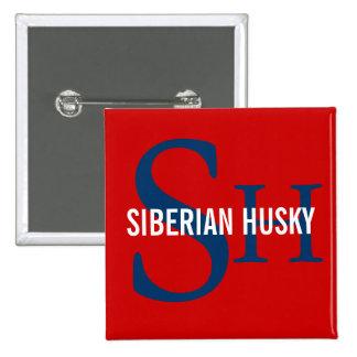 Siberian Husky Breed Monogram Design Pins