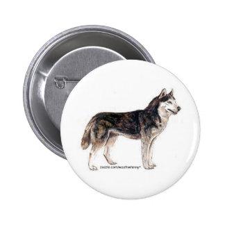 Siberian Husky Pinback Buttons
