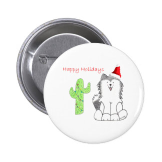 Siberian Husky Cactus Christmas Pin
